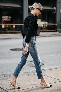 Blonde Woman Wearing Madewell Black Eyelet Blouse Levis Denim Ripped Skinny Jeans Chanel Slingbacks Fashion Jackson Dallas Blogger Fashion Blogger Street Style #streetclothesstyles