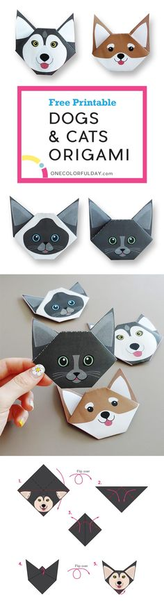 A super easy Dogs and Cats Origami craft for kids. Free printable template of Alskan malamute, Shiba inu, Russian Blue, and Siamese Cat. The craft is is completed within 5 folding steps; all you have to do is fold the head and the ears!! Perfect craft for a rainy day on summer vacation, and together family time.