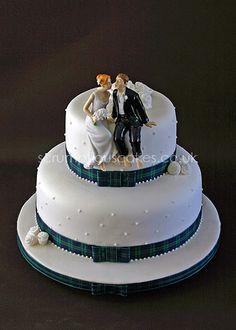 Wedding Cake (485) - Tartan Ribbon & Cake Topper | Flickr - Photo Sharing!