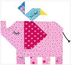 Little Elephant Quilt pattern by Red Brolly - DIY Home Project Quilt Baby, Baby Girl Quilts, Paper Pieced Quilt Patterns, Baby Quilt Patterns, Quilting Projects, Quilting Designs, Quilting Ideas, Elephant Quilts Pattern, Vogel Quilt