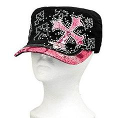 Pink Leopard Print Cross Vintage Hat with Rhinestone In Stock $20
