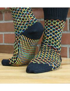 """""""TicTac Toes Socks"""" knitting instructions by designer Camille Chang at Kni . : """"TicTac Toes Socks"""" knitting pattern found by designer Camille Chang at KnitPicks. Crochet Baby Socks, Crochet Slipper Boots, Knitted Slippers, Knitting Patterns, Crochet Patterns, Toe Socks, Patterned Socks, Knit Picks, Designer Socks"""