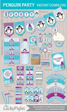 Girly penguin party invitation and decorations for your next penguin party. Made by #theluckypiglet #penguinparty
