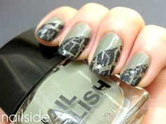 G.I. Jane Nails  A mix of black crackle and military green, this mani would look amazing with rugged weekend basics, from cargo skinnies to combat booties.
