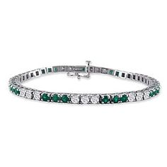 14K White Gold 4.86 Carat Emerald Diamond Bracelet 7 Inches Available Exclusively at Gemologica.com