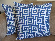 Free US ShippingOne Greek Maze Designer Blue and Cream 18 by Debos, $20.00
