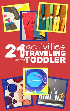 """A master list of 21 affordable, easy to do, practical travel activities for toddlers! Includes free printables, DIY """"toys"""", and travel-themed activities. Toddler Busy Bags, Toddler Travel, Toddler Play, Toddler Learning, Toddler Crafts, Travel With Kids, Toddler Activities, Family Travel, Road Trip Activities"""