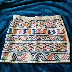 SOLDForever 21 embroidered skirt XXI forever21. Beige skirt with blue pink purple & rust orange embroidered geometric design. small Forever 21 Skirts
