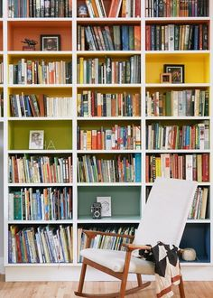 colored bookshelves / A CUP OF JO: New York City apartment tour Cup Of Jo, Interior And Exterior, Interior Design, New York City Apartment, Apartment Interior, Home Libraries, Book Nooks, Built Ins, Home And Living
