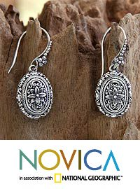 Sterling silver flower earrings, 'Pura Lotus' at The Animal Rescue Site