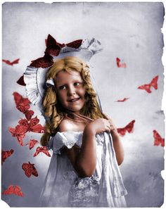 """Shorpy Historical Photo Archive: """"Red Butterflies"""".  Butterfly Kisses. (Colorized Photo).  1901."""