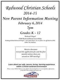 Our next New Parent Information Meeting is February 6th! Come and learn more about Redwood Christian Schools!