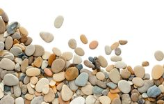 pebbles texture border isolated on white background