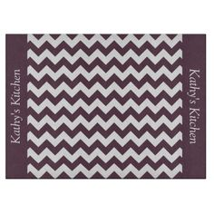 Eggplant Purple Chevron Glass Cutting Board ............This design features a Eggplant Purple Chevron pattern. The TEXT on both sides (left and right) can be customized with your own name. Check out my store for more colors.