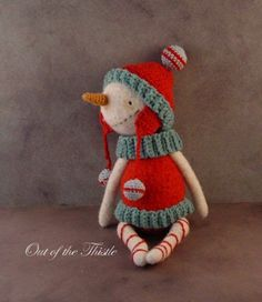 Artist Vintage Style Snowman / crochet felted fiber  Thread Bears retro friend  #Christmas