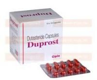 Men's Health » Duprost 0.5mg (Dutasteride)  #Duprost (#Dutasteride) is used as a #hairloss treatment for conditions such as male pattern #baldness, also known as #alopecia, as well as a treatment for benign #prostatic #hyperplasia (enlarged #prostate). It is manufactured by #Cipla #Pharmaceuticals. The main ingredient inhibits DHT. http://prescribe4u.org/show.php5?id=522