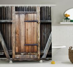 Rustic Antique Wooden Door Image Rural Barn Concept Home Decor Shower Curtain #Ambesonne