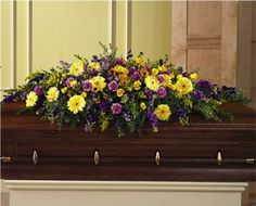 Flower Shop - Full Yellow & Purple Casket Spray - Same Day Delivery Available Dad Funeral Flowers, Fresh Flowers, Beautiful Flowers, Casket Flowers, Funeral Caskets, Funeral Sprays, Casket Sprays, Funeral Planning, Sympathy Flowers