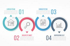 Four Options Infographics Template - #Infographics #Template #Design #Vector. Download here: https://graphicriver.net/item/four-options-infographics/19461411?ref=yinkira