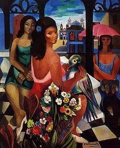 Quadro 'Mulheres, Flores e Araras' - Di Cavalcanti (1897/1976)