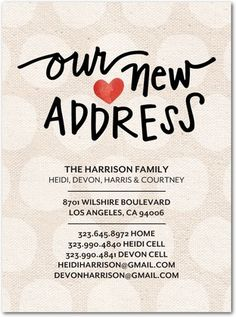 New Address Cards If We Actually Have A Place By Then To Send