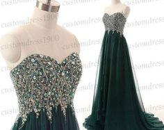 Green long evening dresssweetheart prom par customdress1900 sur Etsy