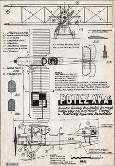Potez XV, plany modelarskie. (Źródło: Modelarz nr 8/1960).