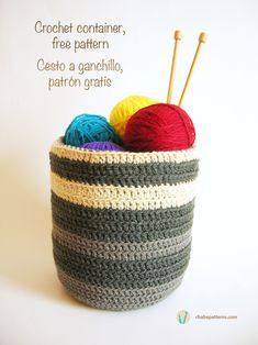 Crochet Basket in English and Spanish