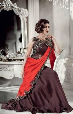 Priyanka Deep Burgundy Brown and Orange Saree Gown Western Dresses, Western Outfits, Indian Outfits, Gown Style Dress, Gown Dress, Saree Gown, Orange Saree, Indian Clothes Online, Gown Suit