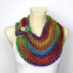 Arco iris de punto bufanda grueso pañuelo infinito