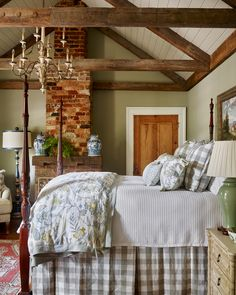 A Comfortable, Rustic Bedroom - A Place To Call Home by James Farmer – Proof That Classic Design Is Alive and Well! – Between Naps on the Porch Cozy Bedroom, Master Bedroom, Cottage Bedroom Decor, Farm Bedroom, Bedroom Neutral, Cottage Bedrooms, Pretty Bedroom, Cottage Interiors, House And Home Magazine