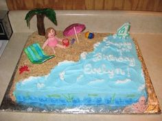 """""""Life is a beach and I'm just playin' in the sand.."""" Enjoy this great beach themed cake! Perfect for any age and great to use props with (notice the palm tree, umbrella, beach chair). Would love to eat this cake for myself. Such a great cake for a beach lover and lets get real, who doesn't love the beach?!"""
