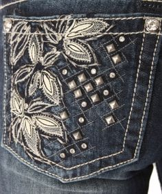Miss Me floral detailed pockets with studs and rhinestones @Chris Munroe