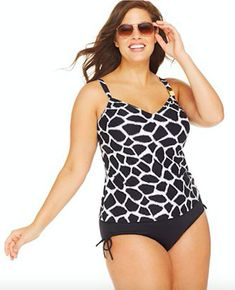 dca144e14b896 NWT  174 Michael Kors Black Animal Tankini Swimsuit 2pc Set Womens Plus Size  24W  MichaelKors
