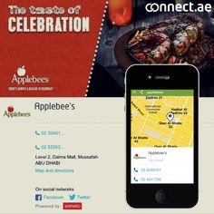 In the mood for some American or Mexican cuisine? Maybe a juicy burger? Why not try Applebee's UAE this week? All 9 restaurant locations in the UAE as well as contact details and ratings via our partners Zomato can be found on our site  http://connect.ae/search:applebees or via our app which you can download here: https://itunes.apple.com/us/app/connect.ae/id930887176?mt=8  https://play.google.com/store/apps/details?id=ae.etisalat.android