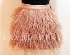 Couture Blush Nude Ostrich Feather Skirt  Laveder by LavederFaye, $155.99