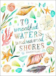 'Undreamed Shores' by Katie Daisy Textual Art on Canvas