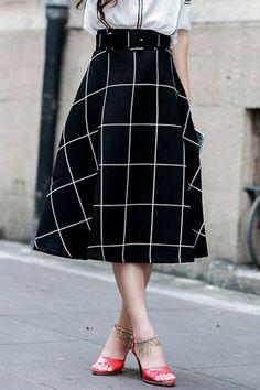 Plaid A-Line Midi Skirt