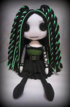 Cyber Goth Art Rag Doll - Ericka