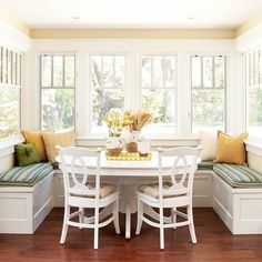 Breakfast nook surrounded by windows