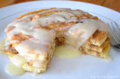 Cinnamon Roll Pancakes. So. delicious!! My kids loved these.