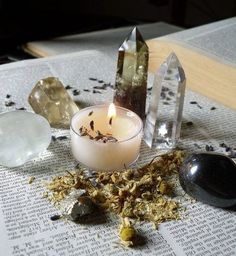 Crystals, Candle, Herbs
