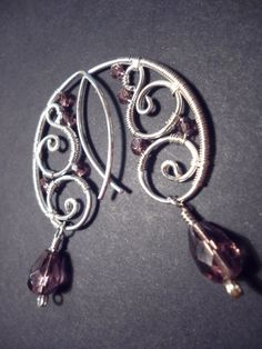 Earrings in purple and silver   Wire Wrapped Jewelry by Juditta, $18.00