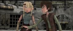 Hiccup stopping Astrid from... something. Probably attacking Snotlout. XD