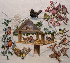 Eva Rosenstand Birdtable Winter Feeder Counted Cross Stitch Kit Linen Started #EvaRosenstand #Frame