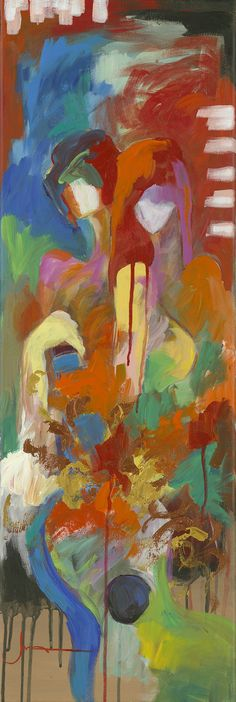 """""""Coupled"""" abstract acrylic painting on canvas by Charles Lee - Park West Gallery"""