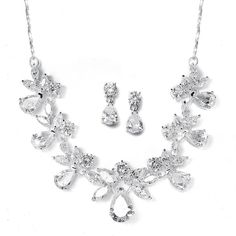Silver Plated CZ Bridal Jewelry Set 578S Bridal Necklace Set, Crystal Necklace, Crystal Jewelry, Prom Accessories, Wedding Jewelry Sets, Prom Jewelry, Bridal Sets, Bridal Boutique, Teardrop Earrings