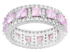 Bella Luce (R) 6.12ctw Pink Princess Cut & Round Rhodium Plated Sterling Silver Band