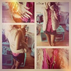 collar cruces + chaleco peludo + camisa fucsia + mini lycra estampa simil paillettes + pack pulseras + anillo tigre doble.