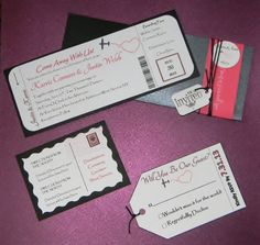 Travel themed boarding pass style invitations by Events by Jackie M.  Available on Etsy or through www.eventsbyjackiem.com